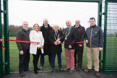 Tom McNamara Cathaoirleach Clare County Council with Gerry Flynn, Chair of the Social Development SPC, Mayor of Ennis Paul Murphy, Liam Conneally, Director of Social Development, Clare County Council, Tim Forde,Head of Sports & Recreation, Clare County Council and Councillor Mary Howard, Chair Sports and Leisure Comnmittee and ichard Murphy, Facilities Manager at the official opening of the  3G all-weather playing pitch at Active Ennis John O'Sullivan Park, Lees Road and newly refurbished gymnasium at Active Ennis Leisure Complex on Friday, 2 February 2018. Photograph by Eamon Ward