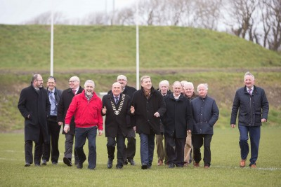 **NO REPRO FEE** New sports facilities open in Kilrush Mayor of Clare, Councillor Tom McNamara, today (Friday, 9 February 2018) officially opened new integrated playing pitches at the Active Kilrush Sports Complex in Kilrush. He is pictured with Minister Pat Breen TD, Gerry Flynn, Chair of the Social Development SPC, Liam Conneally, Director of Social Development, Clare County Council, Tim Forde, Head of Sports & Recreation, Clare County Council, Cllr Bill Chambers, Cllr PJ Kelly, Cllr Michael Hillery, Cllr Christy Curtin, Cllr Gabriel Keating, Matthew Kelly, Active Lilrush, James Healy , John Corry, Kilrush Municipal Development and Liam Williams, Chairman Kilrush Sports Complex Board. Photograph by Eamon Ward