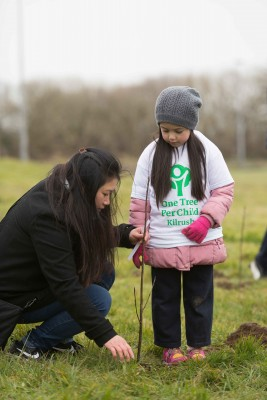"**NO REPRO FEE** Siobhán Mescall and her mother Cassbie and friends from local primary schools St. Senan's NS and Gaelsoil Ui Choimin planting their trees as part of the ""One Tree per Child"" initiative at Active Kilrush Sports Project. Kilrush Tidy Towns, in partnership with local schools and Clare County Council, have embarked on an initiative to ensure every child will plant a tree of their own As part of National Tree Week. Photograph by Eamon Ward"